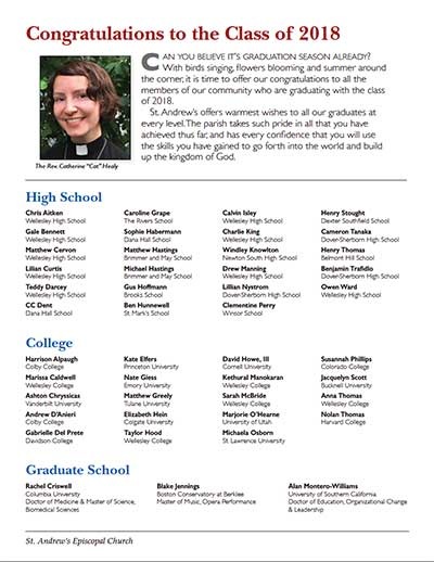 Congratulations 2018 Grads and the Summer Calendar