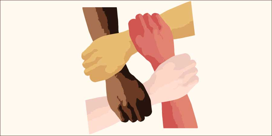 Anti Racism four hands clasped